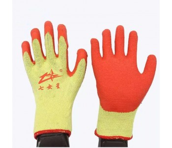七女星十针棉线皱纹防滑耐磨线胶手套软胶起皱防滑劳保手套